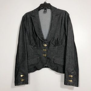 Bisou Bisou Black Denim Jean Blazer Jacket Suit